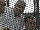 Novináři Peter Greste, Mohamed Fahmy a Báhir Muhammad, kteří pracovali v