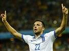 HRDINA. Ruce letí nahoru, gratulace jsou na cestě. Řecký fotbalista Andreas...