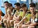 Útočník Diego Costa (třetí zleva) byl v posledním zápase Španělska na...