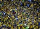 Brazilští fanoušci podporují svůj tým na mistrovství světa.