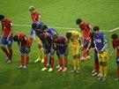 OMLOUVÁME SE. Korejští fotbalisté se po prohře 2:4 s Alžírském přišli omluvit...