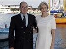 Monack� kn�e Albert II. a jeho t�hotn� man�elka Charlene (Monako, 20. �ervna...