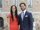 Sofia Hellqvistov� a �v�dsk� princ Carl Philip ozn�mili zasnouben� (Stockholm, 27. �ervna 2014).
