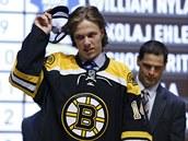 David Pastrňák při draftu NHL v dresu Bostonu.