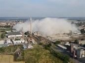 Haly OP Prostějov několik vteřin po výbuchu dynamitu (28. června 2014)