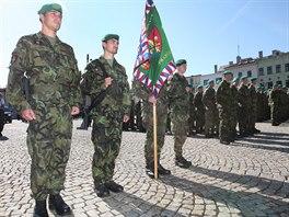 Vojáci ze 7. mechanizované brigády při slavnostním nastoupení na počest svého...
