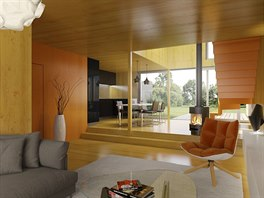 Masivní dřevo posloužilo k výrobě panelů, v interiéru jej architekti nechali viditelné.