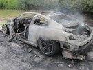 Požár BMW M6 na 225. kilometru dálnice D1 (29. června 2014).