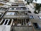 Následky ostřelování ve východoukrajinském Slavjansku. Separatisté viní
