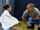 Kanadský trenér Rob Steckley se svou svěřenkou Lucií Šafářovou.