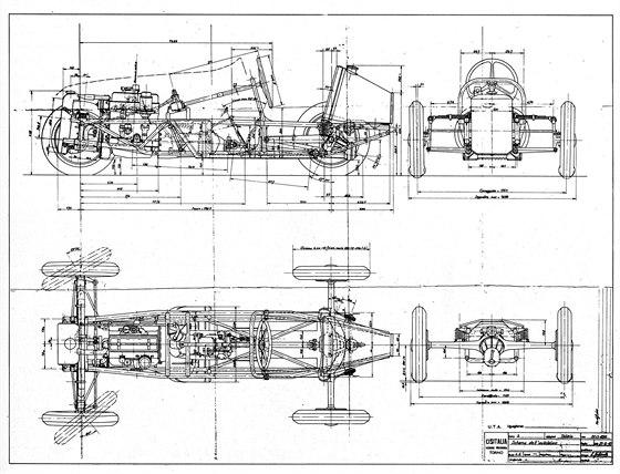 Nákres Cisitalie D46. Závoďák je dílem Dante Giacosy, geniálního konstruktéra,...