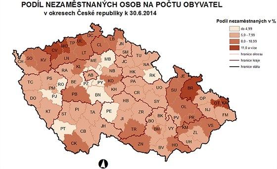 Mapa nezaměstnanosti v ČR. Údaje k červnu 2014