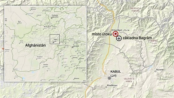 MAPA: místo útoku sebevražedného atentátníka u základny Bagrám v Afghánistánu