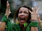 To snad není možné! Rozlícená brazilská fanynka v Belo Horizonte (8. července...