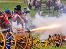 Ukázky bitvy na Chlumu u Hradce Králové se účastnilo čtyři sta vojáků, čtyřicet...
