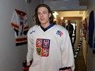 David Pastr��k na kempu hokejov� reprezentace do 18 let v Rokycanech