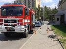 Únik plynu v Měřičkově ulici v Brně (7. července, 2014).