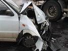 Nehoda felicie a nákladního auta v Kyjově (8. července, 2014).