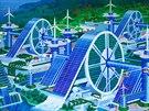 Architektonické návrhy v severokorejské expozici na benátském bienále.