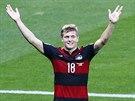 Německý záložník Toni Kroos slaví třetí gól týmu v semifinále MS proti...