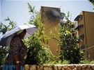 Následky raketového útoku Palestinců na jihoizraelské město Sderot (3. července