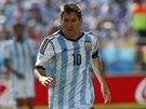 Argentinský útočník Lionel Messi vede míč v osmifinále mistrovství světa.