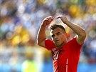 Švýcarský útočník Xherdan Shaqiri po promarněné šanci svého týmu