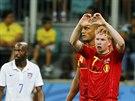 Belgick� reprezentant Kevin De Bruyne se raduje ze vst�elen�ho g�lu.