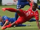 Kolumbijský fotbalista Viktor Zapata, kterého Ostrava testuje, střílí gól v...