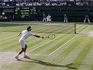 Z POHLEDU HRÁČŮ. Netradiční pohled na centrální tenisový dvorec ve Wimbledonu...