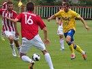Teplický Admir Ljevakovič (ve žlutém) proniká mezi žižkovskými hráči v...