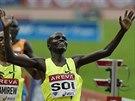 Edwin Cheruiyot Soi slaví triumf v závodu na 5000 metrů na mítinku Diamantové...