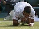 LAHŮDKA. Novak Djokovič po finálovém úspěchu ochutnává trávu z Wimbledonu.