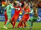 JSME V SEMIFIN�LE! Nizozem�t� fotbalist� se raduj� z �sp�n�ho penaltov�ho