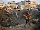 Následky izraelského ostřelování v Gaze (9. 7. 2004).