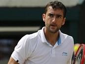 Chorvatský tenista Marin Čilič hraje ve čtvrtfinále Wimbledonu proti...