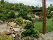 Extra tip:  S pomocí kamenů je možné v alpínu překonat prakticky jakýkoli výškový předěl. Lze kopírovat přírodu a vytvořit spárovou skalku, uplatnit lze i nepravidelné, tvarově členité suché zídky sestavené z kousků opracovaného kamene. V tomto případě je to řezaný pískovec, který hraje prim v celé zahradě a majitelé ho použili i na podlaze kryté zahradní terasy. Zídky jsou vetknuté mezi větší kameny, často v různých výškových úrovních.