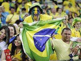 NADŠENÍ. Během čtvrtfinálového zápasu Brazílie vs. Kolumbie měli domácí...
