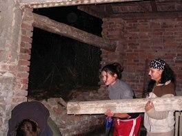 Při rekonstrukci dřevníku pomáhaly i kamarádky.