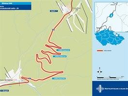 Mapa jižní části silnice přes Červenohorské sedlo, kterou nyní čeká rozsáhlá...