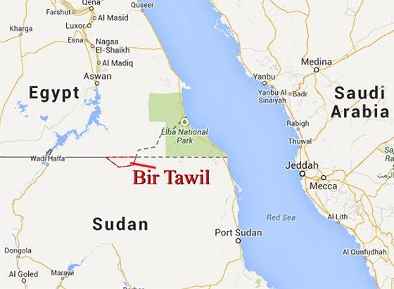 Mapa vytvořená Jeremiahem Heatonem ukazuje jeho království Severní Súdán (Bir...