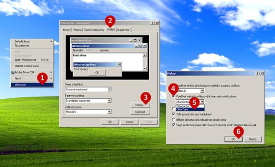 Jak nastavit vyhlazené písmo ve Windows XP