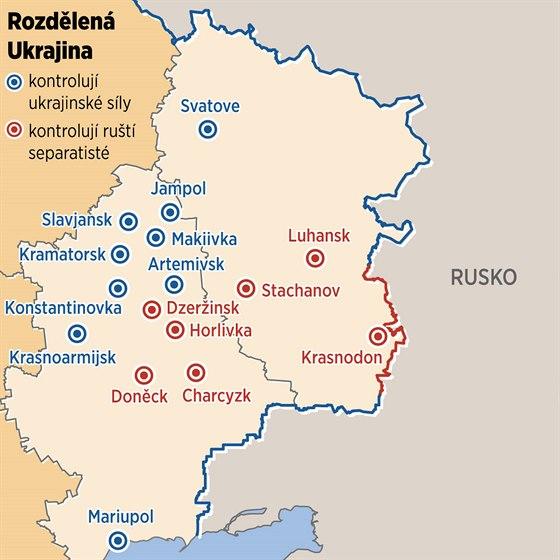 MAPA: Ukrajinská města ovládaná ruskými separatisty