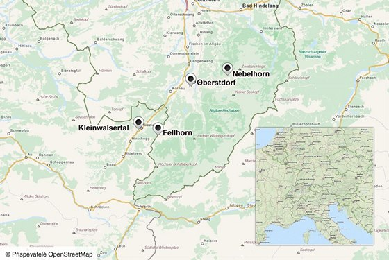 MAPA: Oberstdorf, Kleinwalsertal, Fellhorn a Nebelhorn