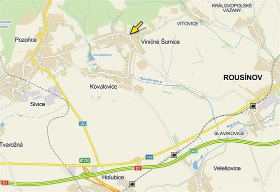 Nehoda čtyř aut ve Viničných Šumicích,