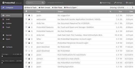 Interface služby ProtonMail