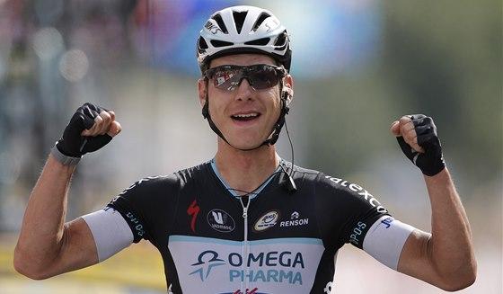 FAMÓZNÍ ÚNIK. Německý cyklista Tony Martin jásá po triumfu v deváté etapě Tour