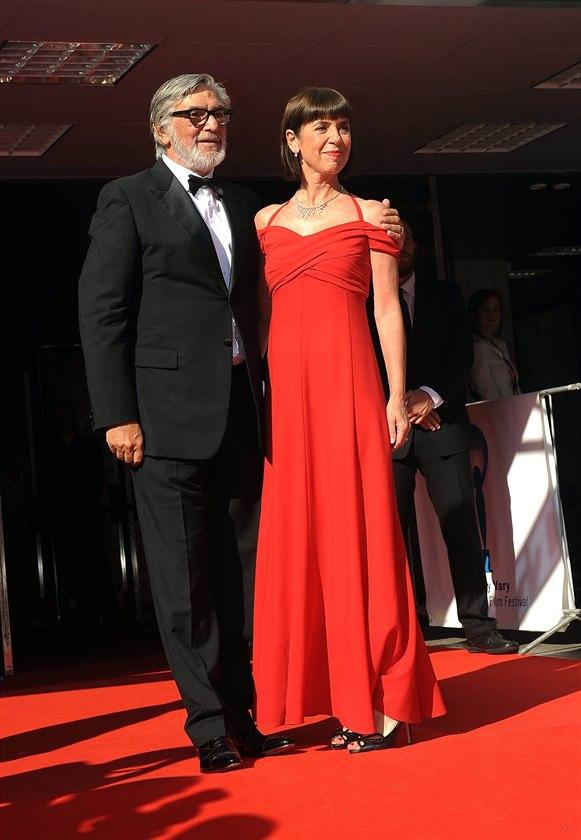 Jiří Bartoška a jeho manželka Andrea na MFF KV (Karlovy Vary, 12. července 2014)