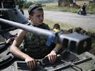 Ukrajinský voják přibližně 60 kilometrů od Doněcku (11. července 2014)