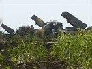 Ukrajinské raketomety Grad u města Siversk (13. července 2014)